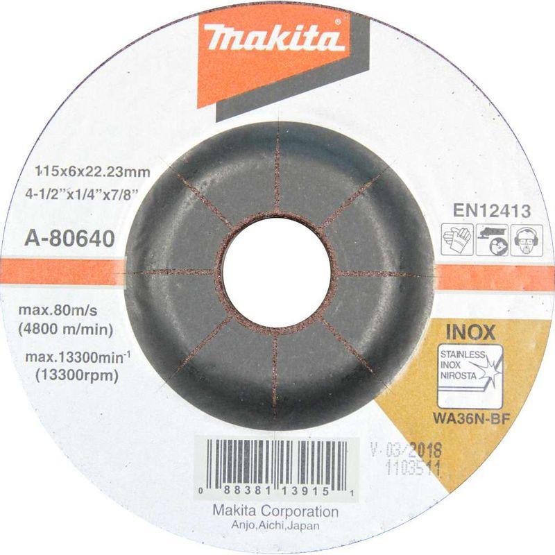 Disco-de-Desbaste-Makita-A-80640-115x6x22.23mm-WA36N