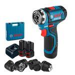 Parafusadeira-Furadeira-a-Bateria-Bosch-GSR-12V-15-FC-Flexiclick-12V---4-mandris---2-baterias---1-Carregador-Bivolt---Maleta