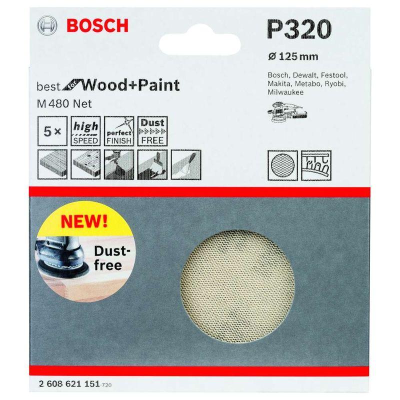 Disco-de-Lixa-Bosch-M480-Best-for-Wood---Paint-125mm-G320---5-unidades