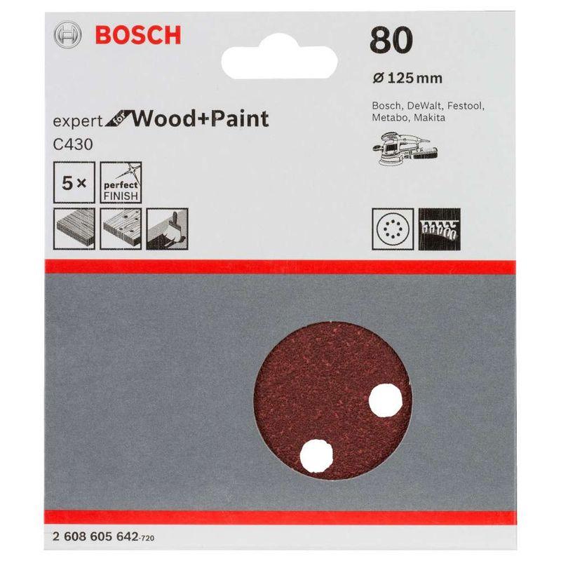 Disco-de-Lixa-Bosch-C430-Expert-for-Wood-Paint-125mm-G80---5-unidades