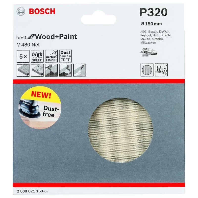 Disco-de-Lixa-Bosch-M480-Best-for-Wood---Paint-150mm-G320---5-unidades
