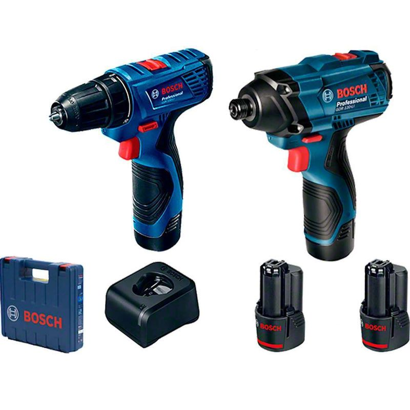 Combo-Bosch-12V-com-1-Chave-de-Impacto-GDR-120-LI---1-Parafusadeira-GSR-120-LI---2-Baterias-20Ah---Carregador-Bivolt---Maleta