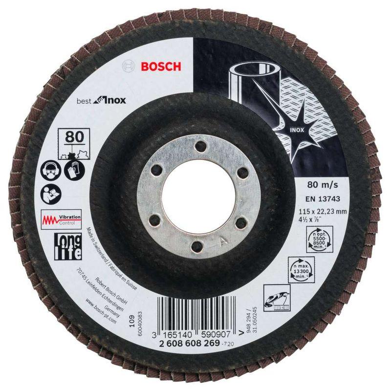 Disco-Flap-Bosch-X581-Best-for-Inox-115mm-G80-Reto-Fibra-de-Vidrio