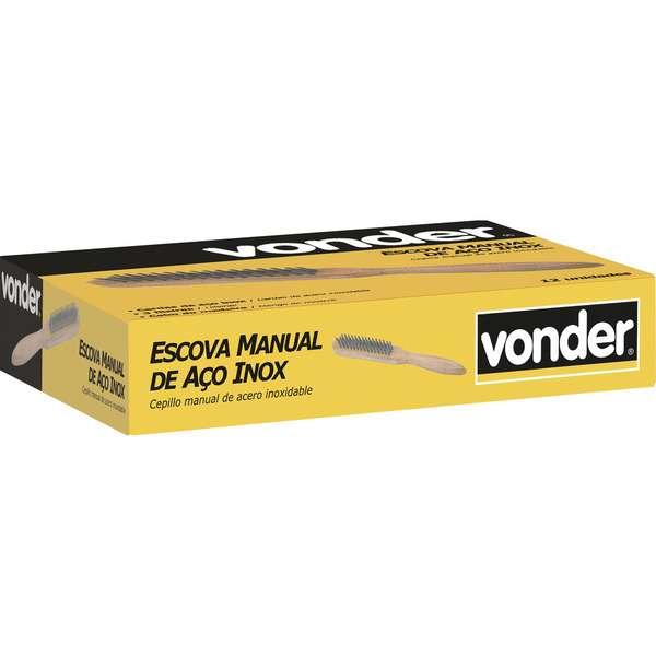 Escova-Manual-Vonder-com-Cerdas-de-Aco-Inox-3-Fileiras-com-Cabo-de-Madeira