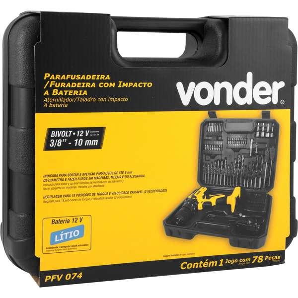 Parafusadeira-Furadeira-a-Bateria-Vonder-3-8--PFV-074-12V-Carregador-Bivolt-Automatico-Jogo---74-Pecas