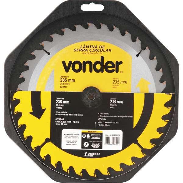 Lamina-de-Serra-Circular-Vonder-com-Dentes-de-Metal-Duro-Videa-235-mm-X-30-mm-36-Dentes