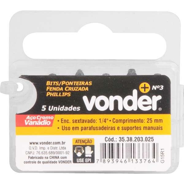 Bits-Ponteira-Phillips-Vonder-com-Encaixe-1-4--Nº-3-X-25-mm-Cartela-com-5-Pecas