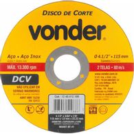 Disco de Corte Vonder 115,0 mm X 1,0 mm X 22,23 mm Dcv