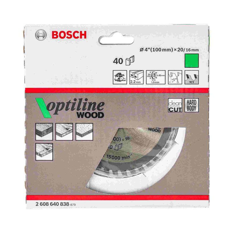 Disco-de-serra-circular-Bosch-Optiline-Wood-ø100-furo-de-20mm-espessura-de-14mm-40-dentes