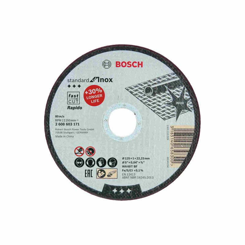 Disco-de-Corte-Bosch-Standard-for-Inox-125x10mm-Centro-Reto