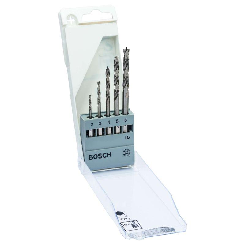 Jogo-de-Brocas-para-Madeira-Bosch-3-Pontas-de-Aco-Rapido-20-60mm--encaixe-hexagonal-1-4-----5-unidades