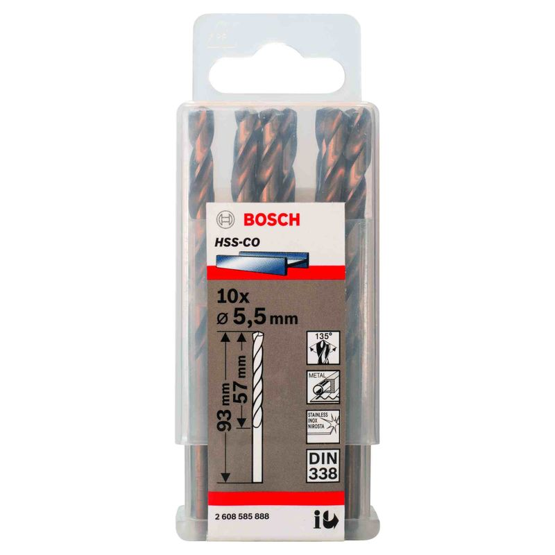 Broca-para-Metal-Bosch-Aco-Rapido---Liga-de-Cobalto-HSS-Co-55mm---10-unidades