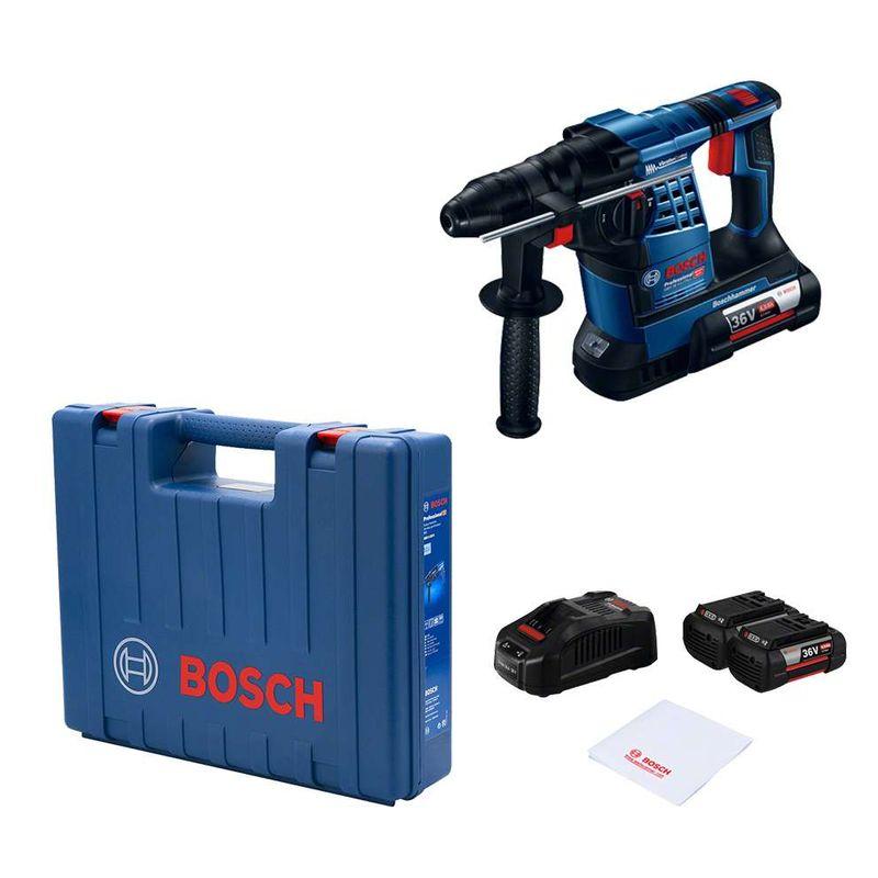 Martelete-Perfurador-Demolidor-Bosch-GBH-36V-LI-SDS-Plus-36V-32J-EPTA---2-Baterias-40Ah---1-Carregador---Maleta