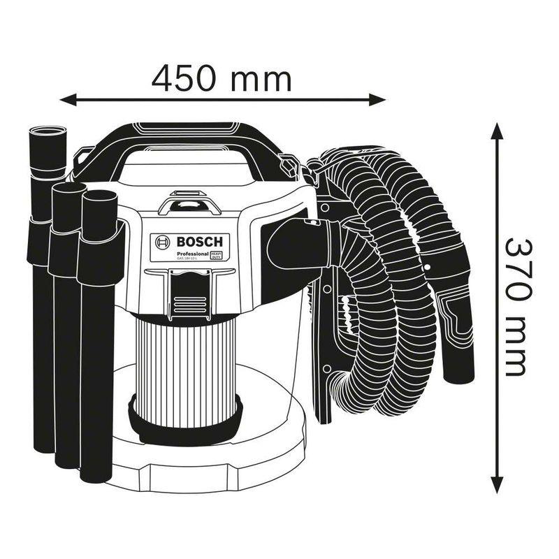 Aspirador-de-Po-a-Bateria-Bosch-GAS-18V-10-L18V-sem-Bateria-e-sem-Carregador