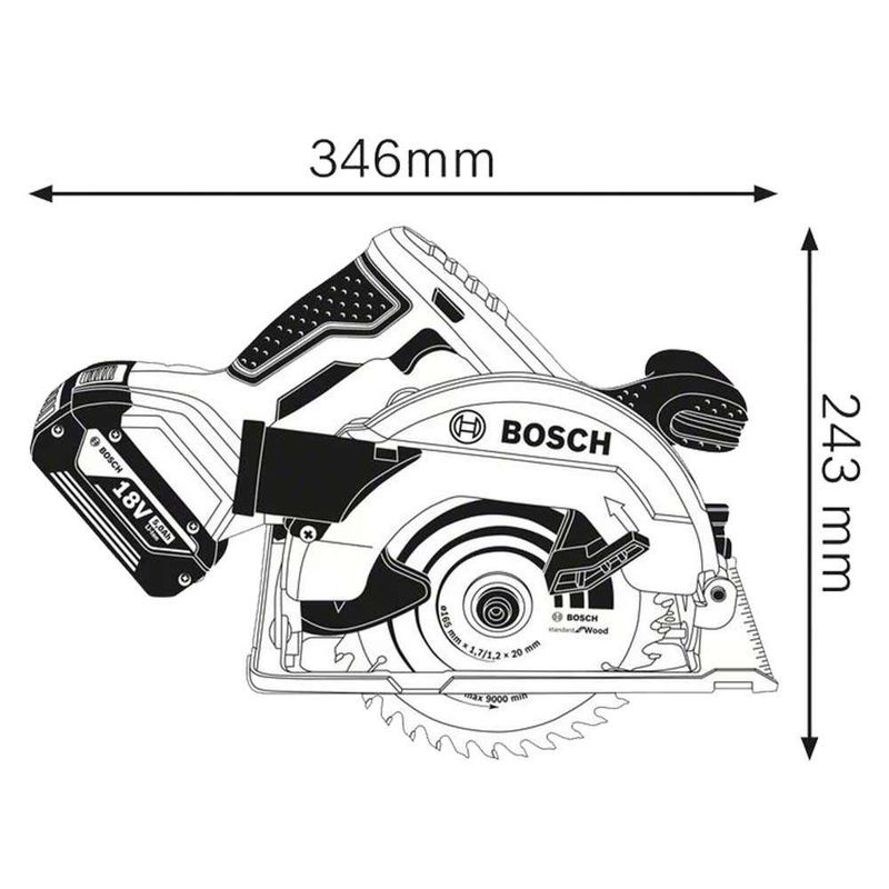 Serra-Circular-a-Bateria-Bosch-GKS-18V-57-18V-sem-Bateria-e-sem-Carregador