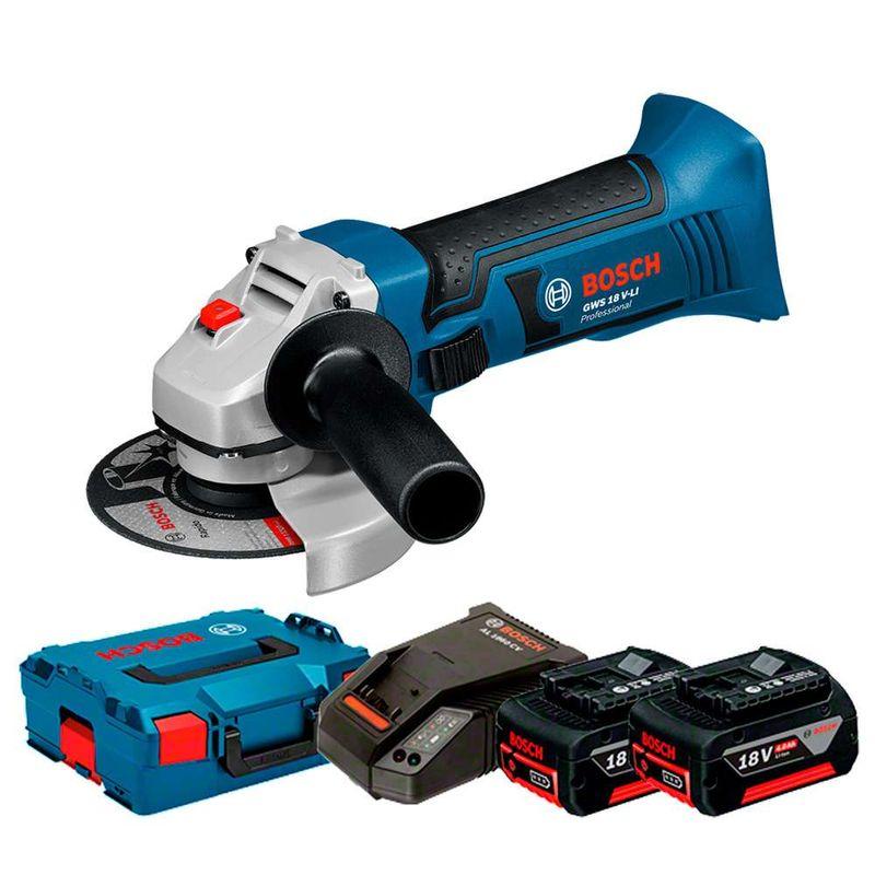 Esmerilhadeira-Angular-a-Bateria-Bosch-4.1-2--GWS-18V-LI-18V---2-Baterias-40Ah---1-Carregador-Rapido---Maleta-L-BOXX