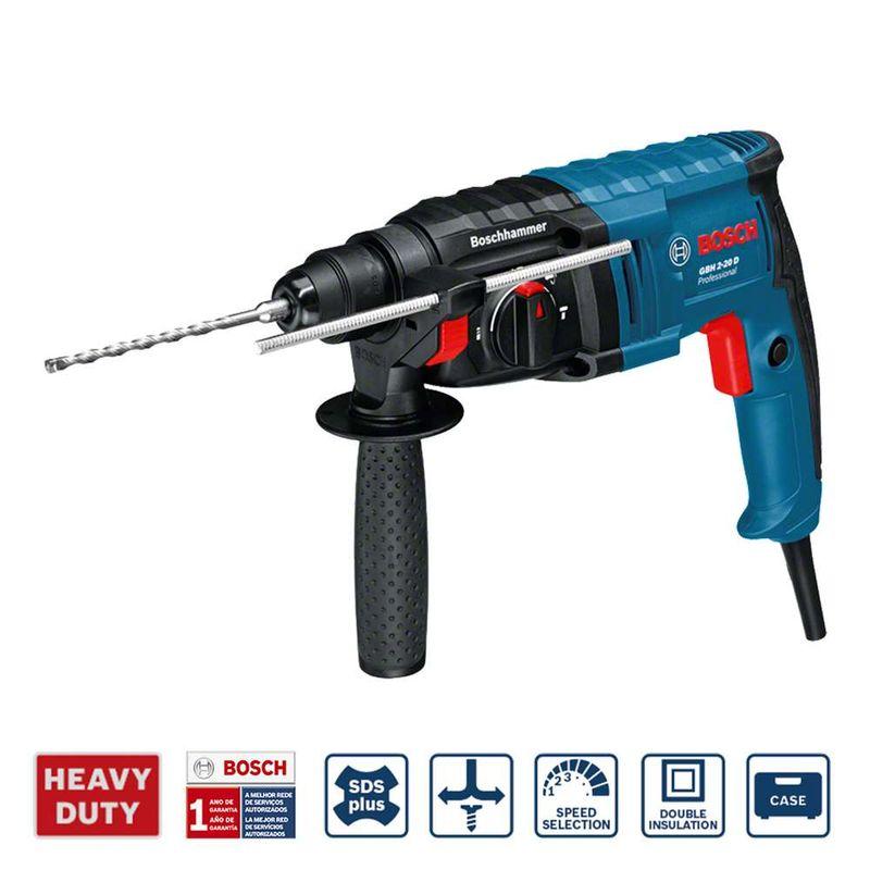 Martelete-Perfurador-Rompedor-Bosch-GBH-2-20-D-650W-17J-EPTA---Adptador-de-mandril---Maleta-110V