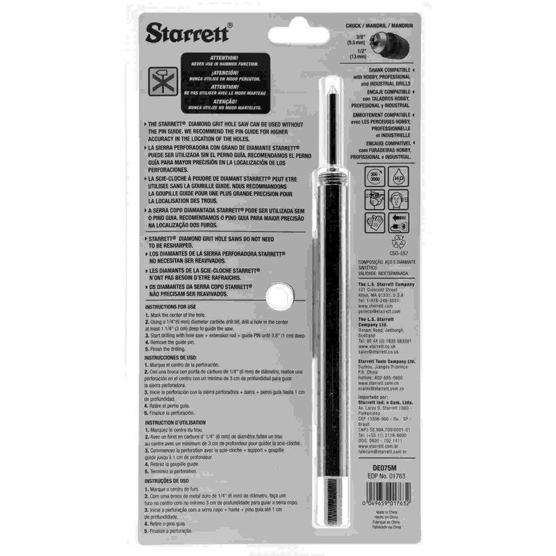 Serra-Copo-Starrett-DE075M-com-Arestas-Revestidas-com-Po-Diamantado-75mm-2.61-64--com-Haste-De-150mm-6-