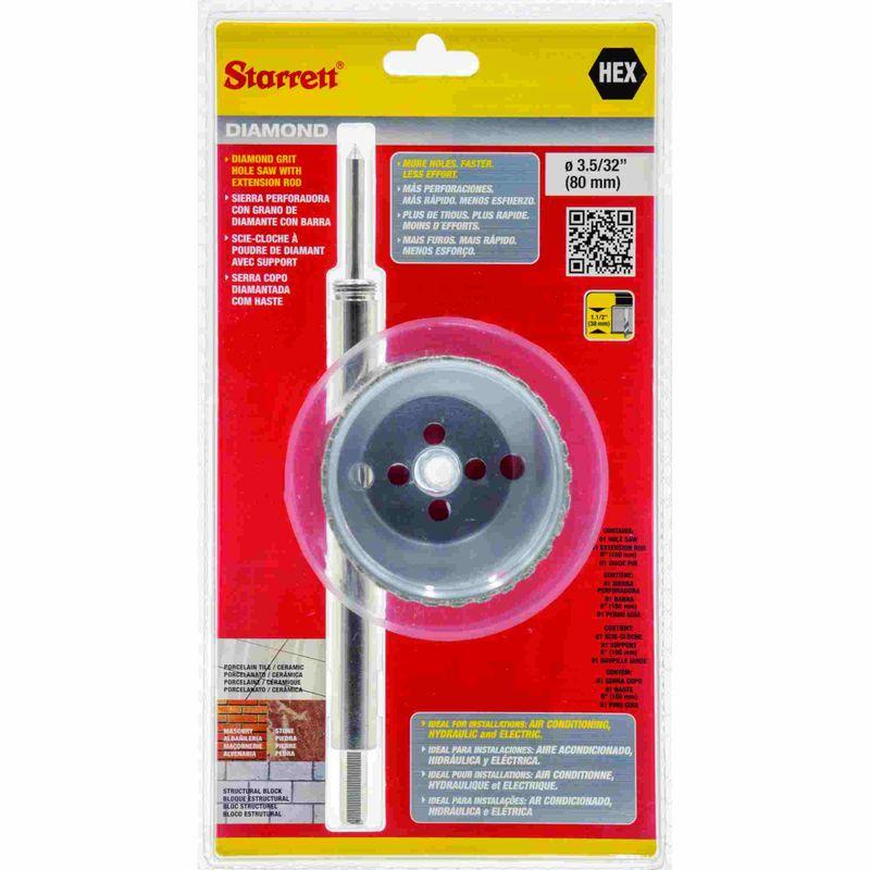 Serra-Copo-Starrett-DE080M-com-Arestas-Revestidas-com-Po-Diamantado-80mm-3.5-32--com-Haste-De-150mm-6-