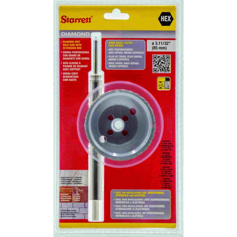 Serra-Copo-Starrett-DE085M-com-Arestas-Revestidas-com-Po-Diamantado-85mm-3.11-32--com-Haste-De-150mm-6-