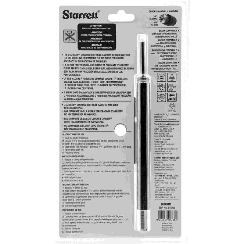 Serra-Copo-Starrett-DE090M-com-Arestas-Revestidas-com-Po-Diamantado-90mm-3.17-32--com-Haste-De-150mm-6-